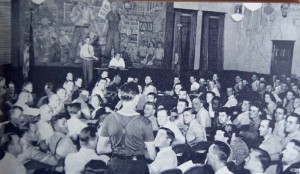 Union meeting in Local 174 Headquarters auditorium, West Side Detroit, c. 1937