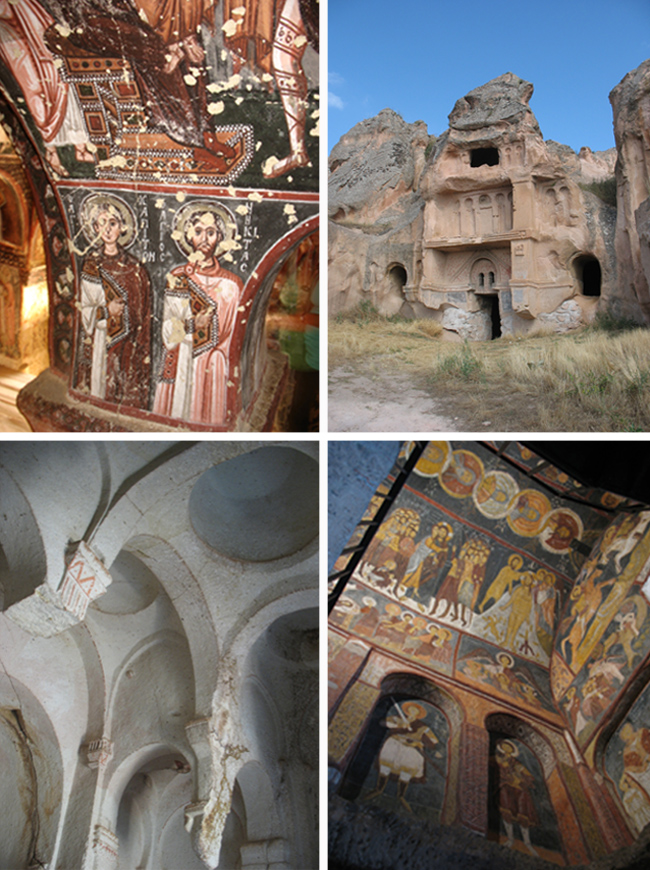 Rock-cut architecture in Cappadocia. Clockwise from top left: Tenth-century paintings in Kiliclar Kilise (The Sword Church); a carved facade at Aciksaray; Thirteenth-century paintings in St. Jean Church near Gulsehir; Hallac Monastery Church.