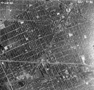 Aerial view of W. Side Detroit in vicinity of Local 174 Headquarters, c. 1949.